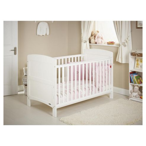 Obaby Grace 4 Piece Cot Bed Set, White Cot Bed with Pink Bedding (includes mattress, quilt & bumper)