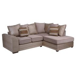 Inca Leather Effect & Fabric Corner Sofa, Natural Right Hand Facing