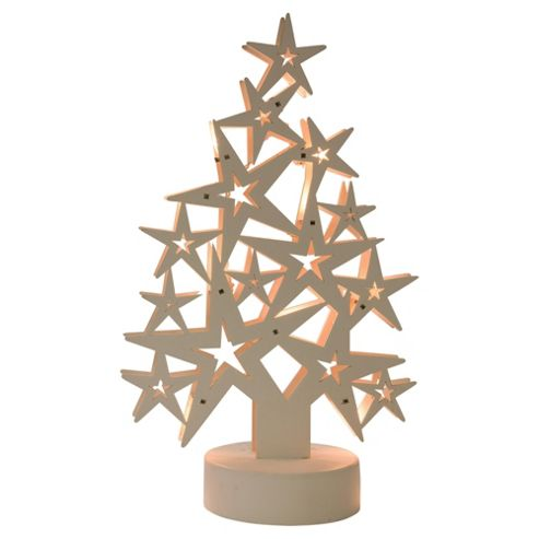 Wooden Star tree with 10 warm white LED lights, white