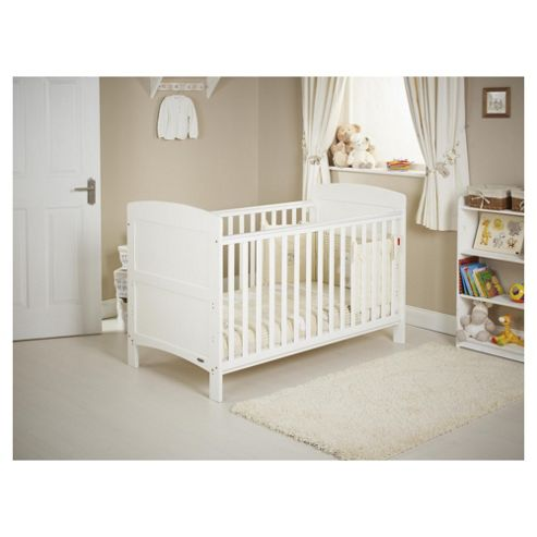 Obaby Grace 4 Piece Cot Bed Set, White Cot Bed with Cream Bedding (includes mattress, quilt & bumper)
