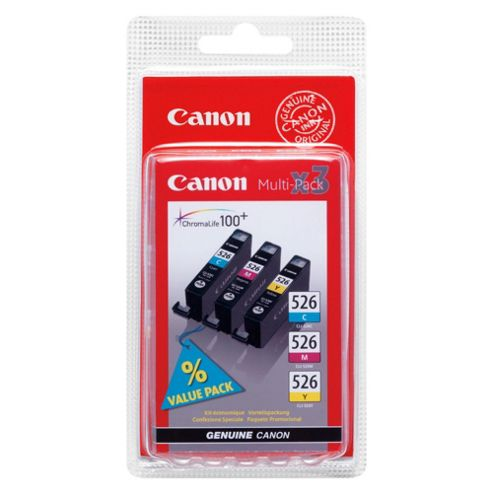 Canon CLI-526 Printer Ink Cartridge Multipack (Cyan, Magenta, Yellow)