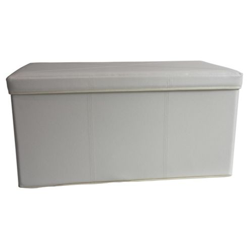 Tesco Leather Effect 2 Compartment Ottoman Trunk, Cream