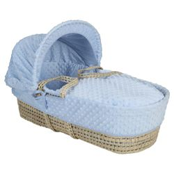 Clair de lune Dimple Moses Basket, Blue