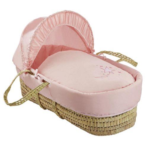 Clair de Lune Starburst Palm Moses Basket - Pink