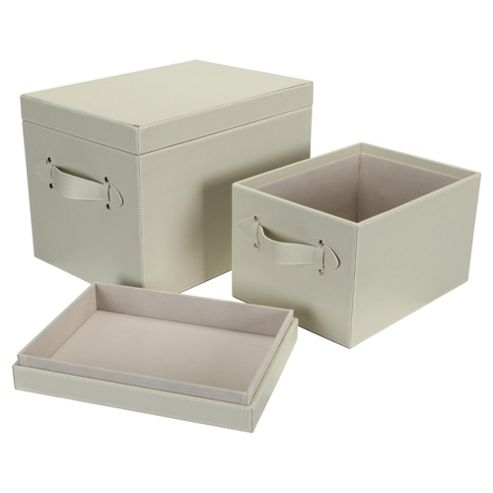 Leather Effect Trunk, Cream, Set of 2
