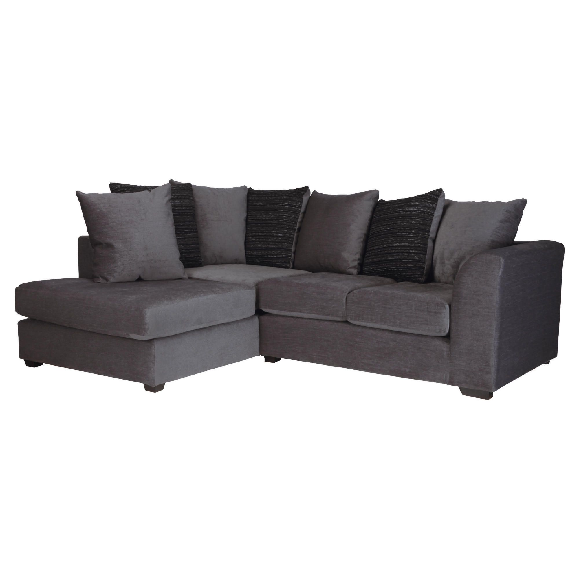Ontario Fabric Corner Left Hand Facing Sofa, Charcoal at Tesco Direct