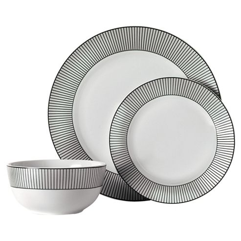 Tesco Pinstripe 12 Piece, 4 Person Dinner Set, White & Black