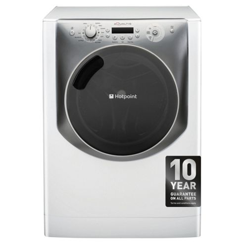 Hotpoint Aqualtis AQ113F497E Washing Machine, 11Kg Wash Load, 1400 RPM Spin, A++ Energy Rating, White Titanium