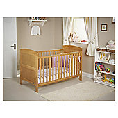 Obaby Grace 4 Piece Cot Bed Set, Country Pine Cot Bed With Pink Bedding