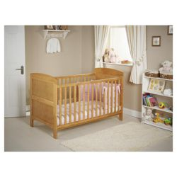 Obaby Grace 4 Piece Cot Bed Set, Country Pine Cot Bed With Pink Bedding (includes mattress, quilt & bumper)