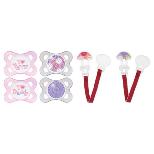 MAM Soother & Clip Set 0+ Months, Girls