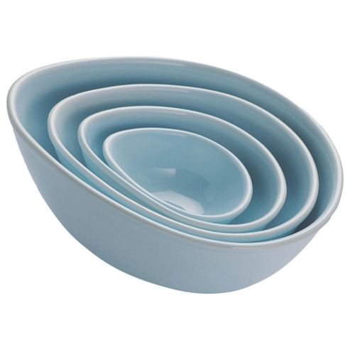 Nigella Lawson Living Kitchen Set of 4 Mixing Bowls, Blue