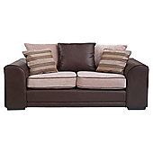 Inca Medium Leather Effect & Fabric Sofa, Mocha