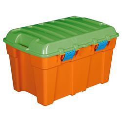 48L Treasure chest box with lid, orange & green