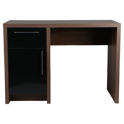 Manhattan Straight Desk, Walnut Effect / Black
