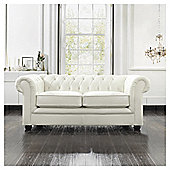 Chesterfield Leather Small Sofa, White