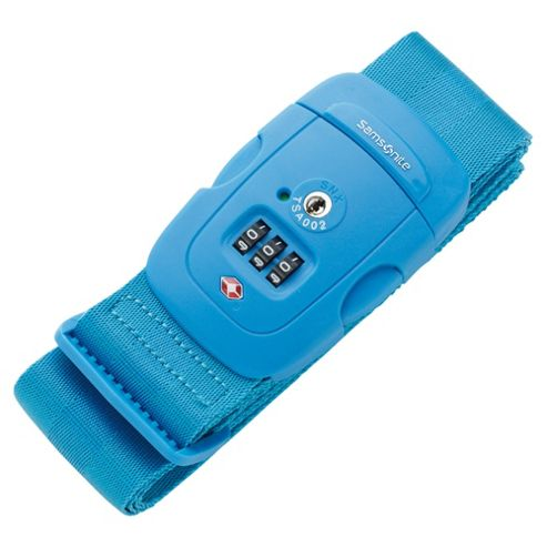 Samsonite Suitcase Luggage Strap with 3-Dial Combination Lock, Blue