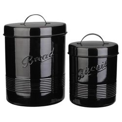 Tesco Enamel Biscuit and Bread Canister, Black
