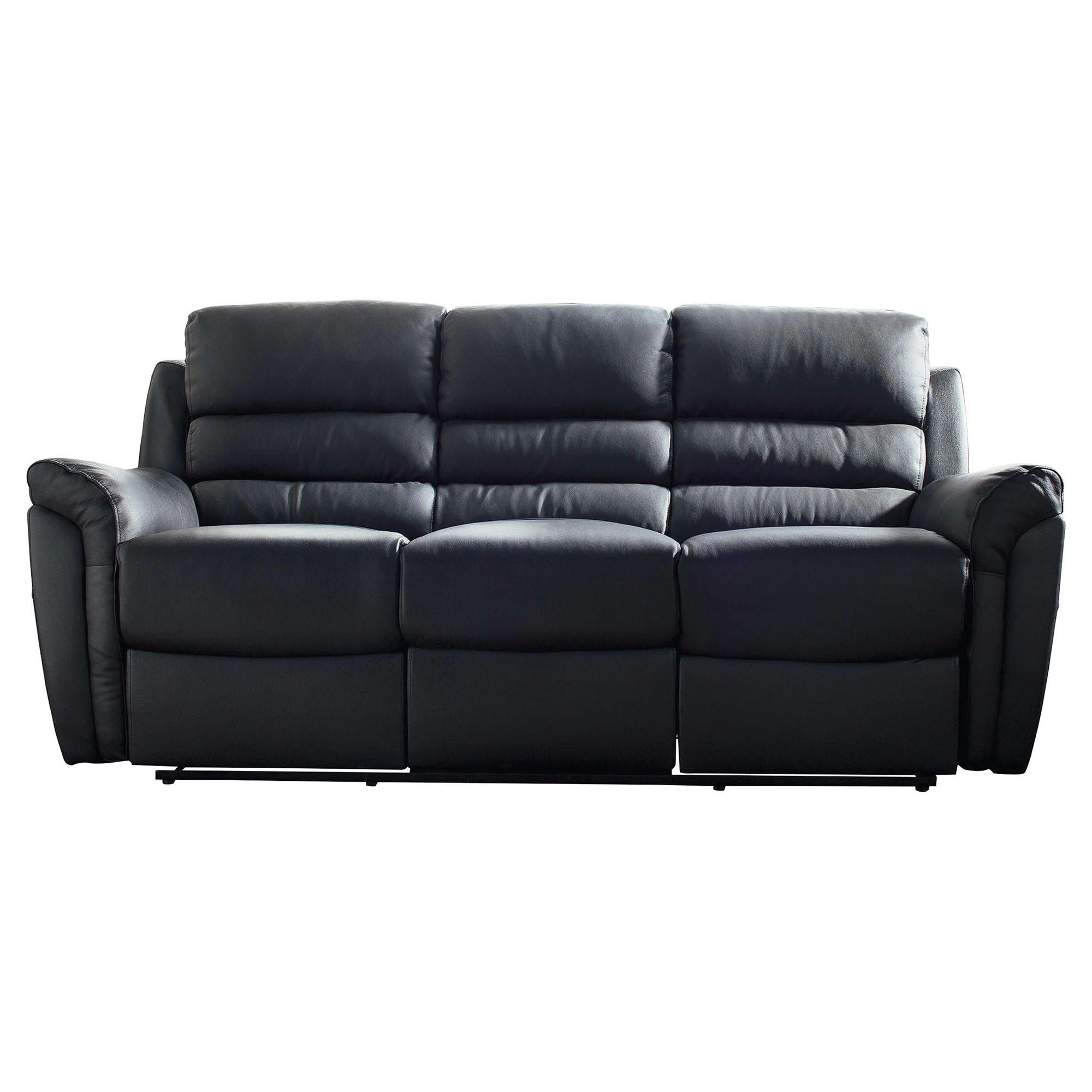 Chloe Large Leather Recliner Sofa Black at Tesco Direct