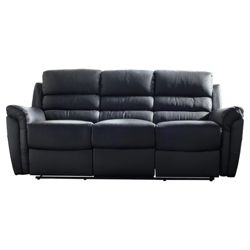 Chloe Large Leather Recliner Sofa Black