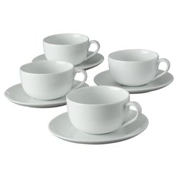 Tesco Set of 4 Porcelain Cups and Saucers, White