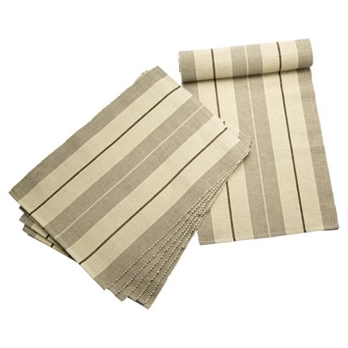 Tesco Ribbed Taupe Stripe Runner & 6 pack of placemats