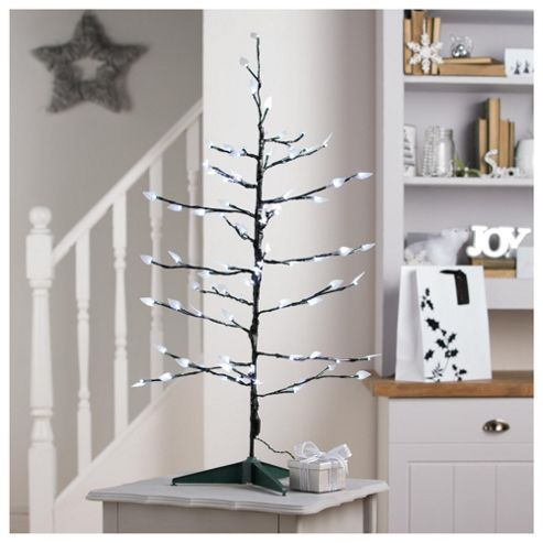 Festive Twig Christmas Tree with White LED Lights.