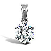 Jewelco London 9ct Solid white gold hand-set 6 claw solitaire CZ pendant