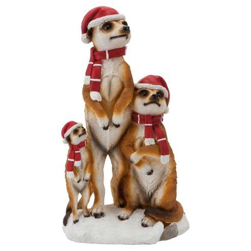 Standing Meerkat Family Christmas Decoration