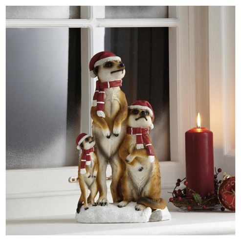 Standing Meerkat Family Christmas Decoration