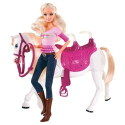 Barbie Doll & Tawny Horse Walking Together
