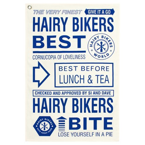 Hairy Bikers Tea Towel Finest & Best, blue & Cream