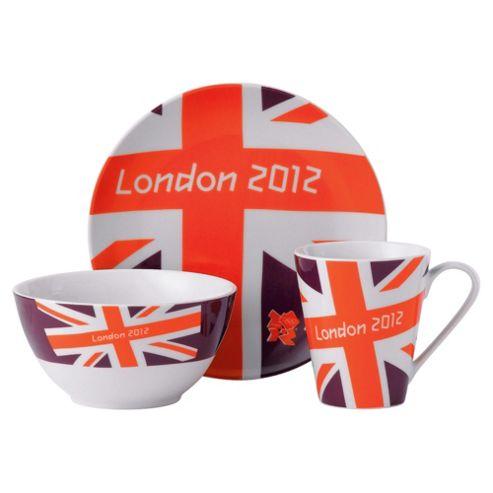 Johnson Bros London 2012 Union Jack Bright 3 piece Set, Red and White
