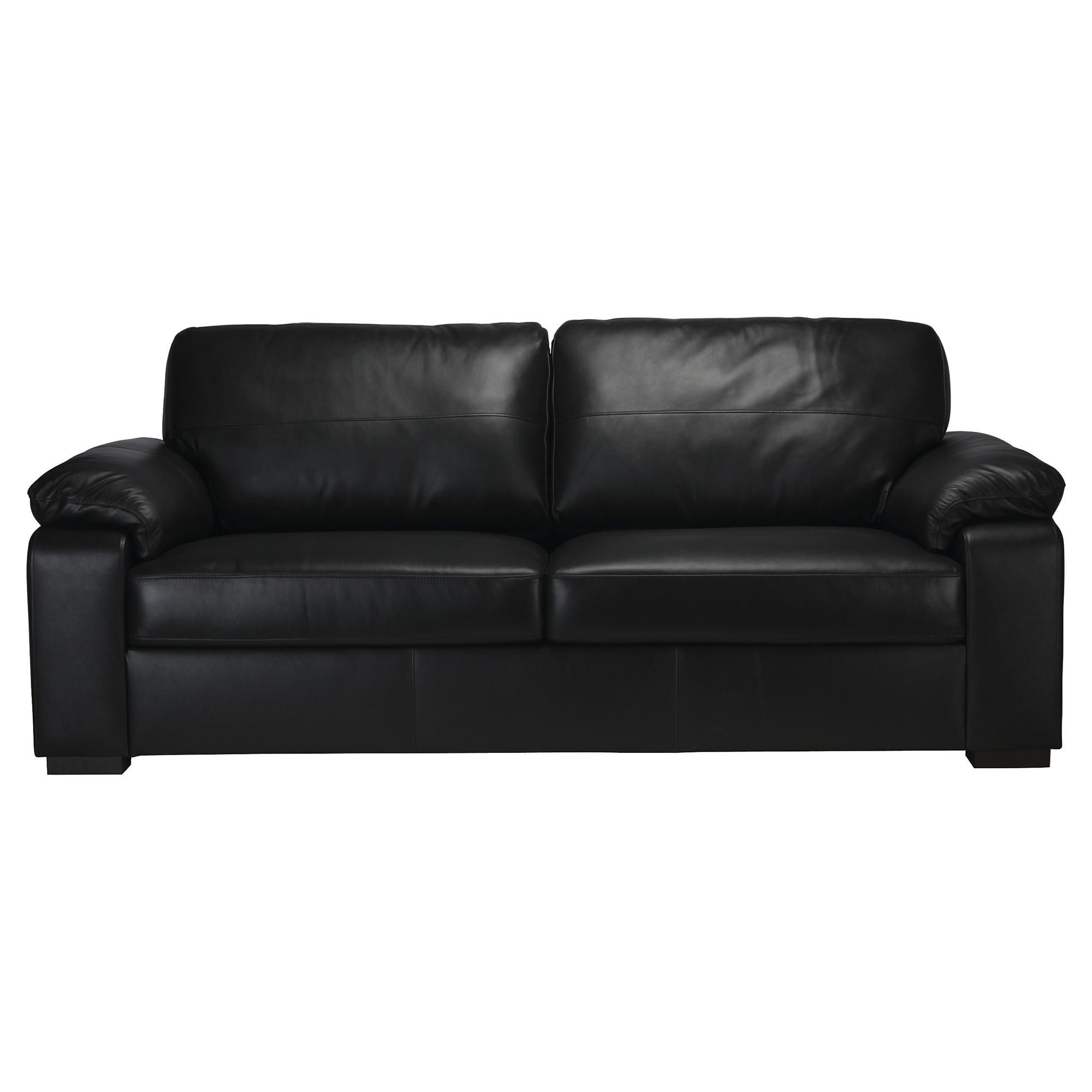 Ashmore Large Leather Sofa, Black at Tesco Direct