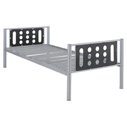 Domino Single Bed Frame, Silver & Black Headboard