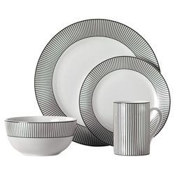 Tesco Pinstripe 16 Piece, 4 Person Dinner Set - Black & White.