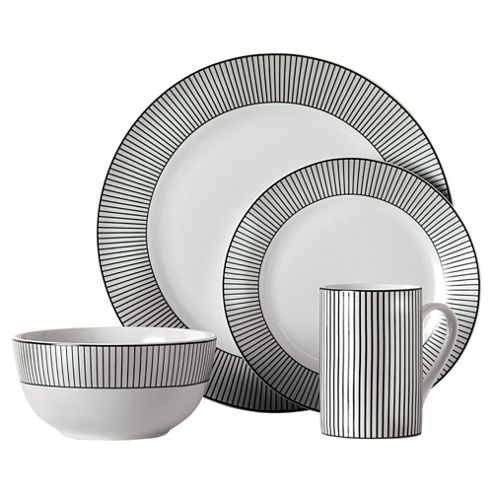 Tesco Pinstripe 16 Piece, 4 Person Dinner Set - Black & White