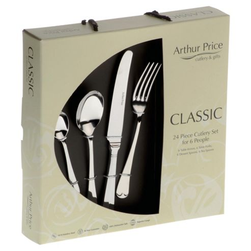 Arthur Price Classic Rattail 24 piece, 6 Person Boxed Cutlery Set