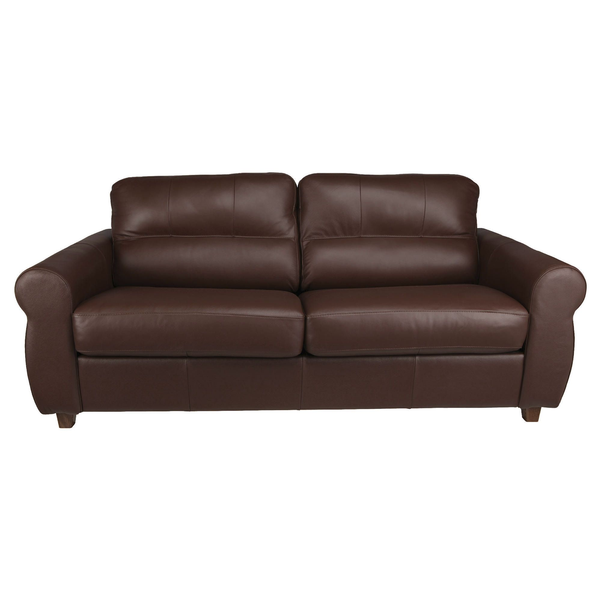 Fabio Leather Sofabed Cognac at Tesco Direct