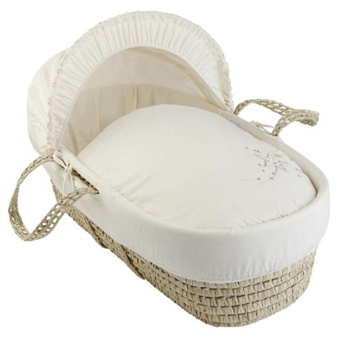 Clair de Lune Starburst Palm Moses Basket - Cream