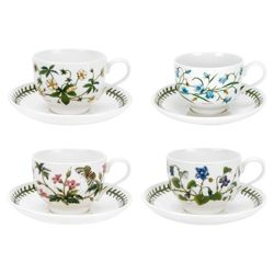 Portmeirion Botanic Garden Set of 4 Teacups and Saucers.