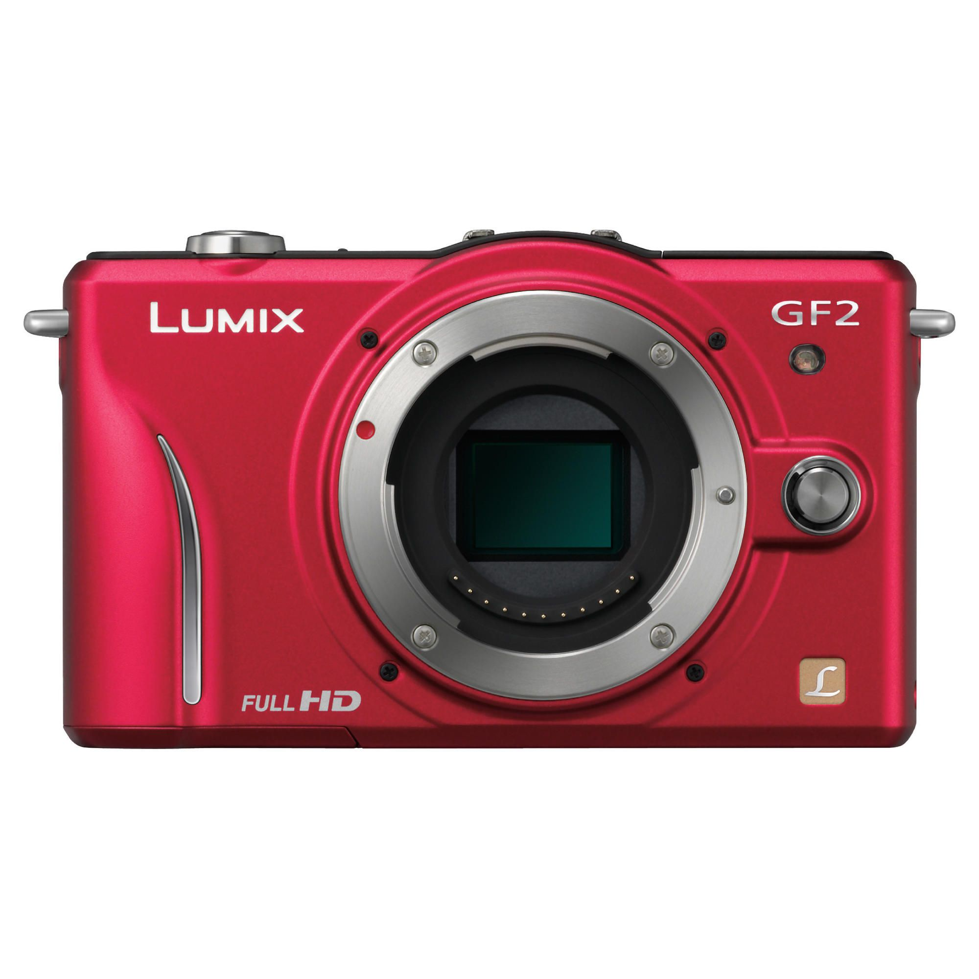 Panasonic Lumix GF2 Compact System Camera (with 14mm and 14-42mm Lenses) - Red