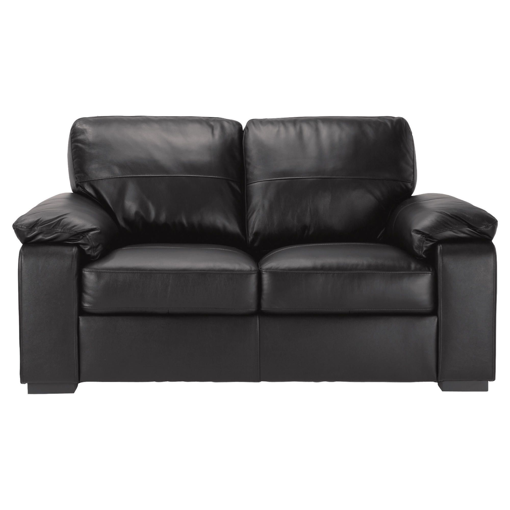 Ashmore Small Leather Sofa, Black at Tesco Direct