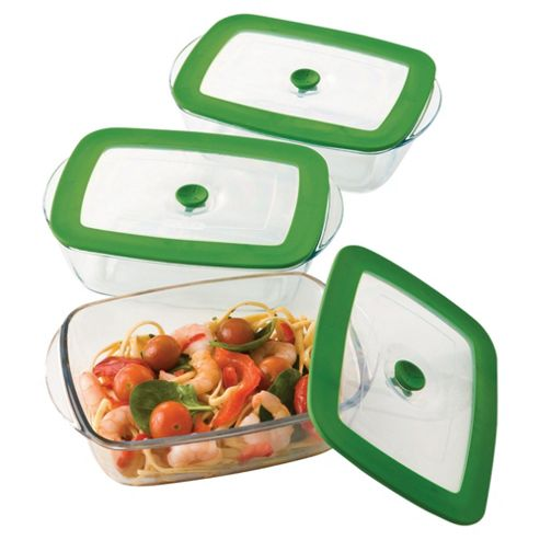 Pyrex 3 piece 4in1 Rectangular Casserole Dish Set with Lids