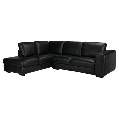 Antonio Leather Corner Chaise Left Hand Facing Black