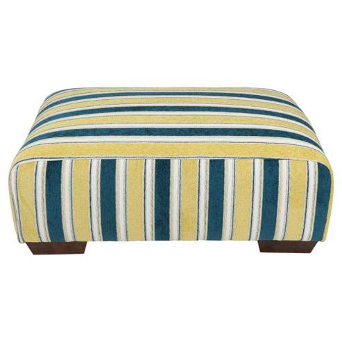 Amelie Fabric Footstool, Teal Stripe