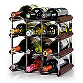 Ready To Assemble 12 Bottle Wine Rack, Dark Oak