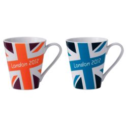 Johnson Bros London 2012 Union Jack Bright Mugs, Burgundy and Dark Blue