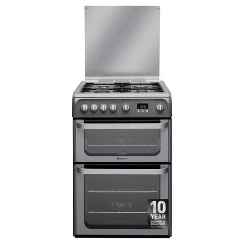 Hotpoint HUG61G, Graphite, Gas  Cooker, Double Oven, 60cm