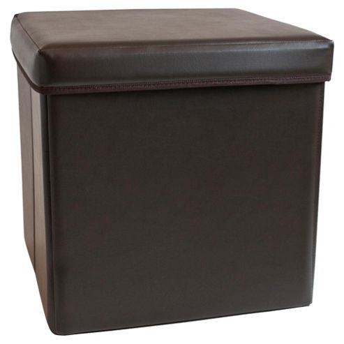 Faux Leather Ottoman Small Brown